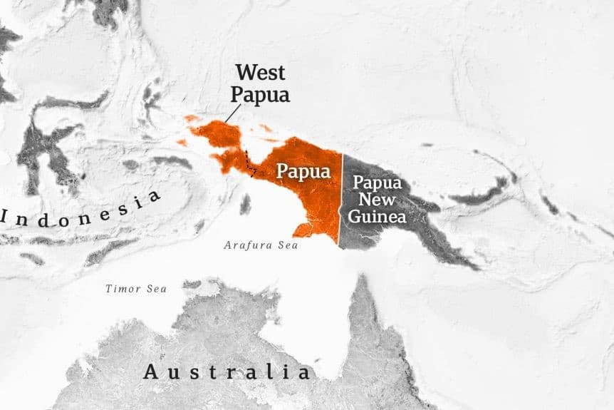 Map of West Papua and Papua